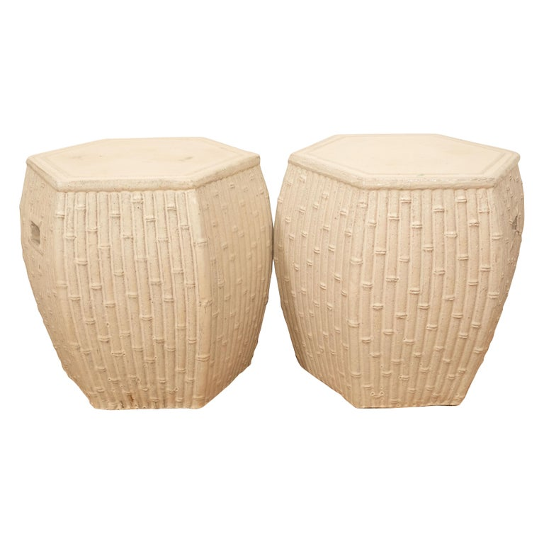 Pair of White Garden Stools For Sale