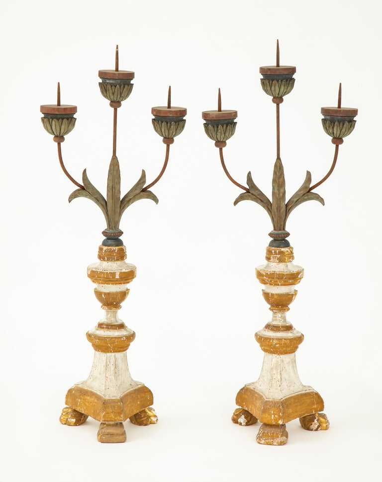 Pair of White and Giltwood Pricket Altar Candlesticks For Sale 5