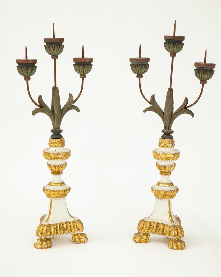 19th Century Pair of White and Giltwood Pricket Altar Candlesticks For Sale