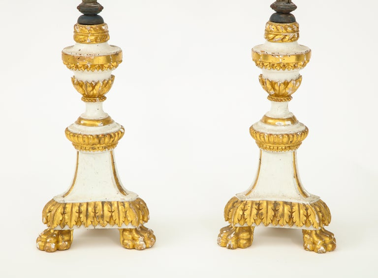 Wood Pair of White and Giltwood Pricket Altar Candlesticks For Sale