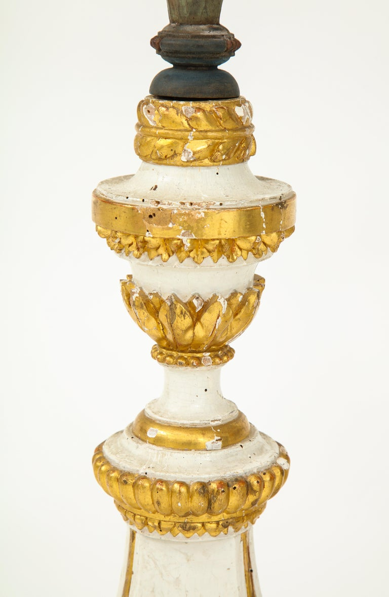 Pair of White and Giltwood Pricket Altar Candlesticks For Sale 1