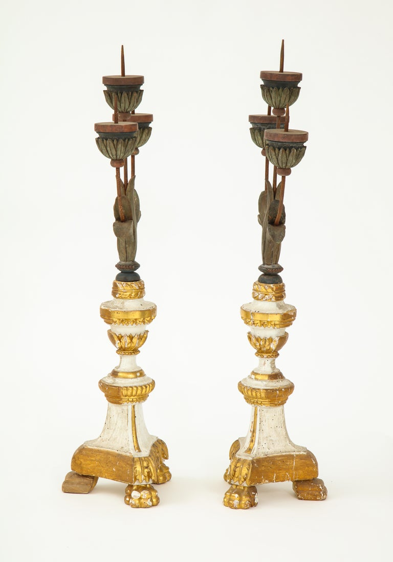 Pair of White and Giltwood Pricket Altar Candlesticks For Sale 3