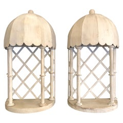 Pair of White Glamorous Palm Beach Iron and Tole Niche Wall Brackets Sconces