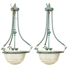 Pair of White Glass and Metal Pendant Ceiling Lamps