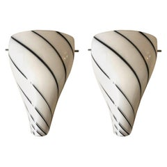 Pair of White Glass Belgium Wall Sconces by Massive, 1990s