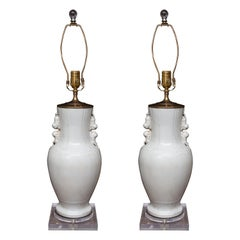 Pair of White Glazed Chinese Ceramic Lamps