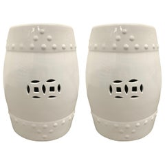 Pair of White Glazed Garden Stools