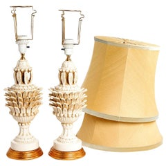 Pair of White Glazed Midcentury Table Lamps with Gilt Base