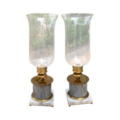Pair of White & Grey Marble Candlesticks with Glass Photophores, circa 1950s