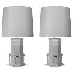 Pair of White Hand Sculpted Grand Tour Table Lamps Athens