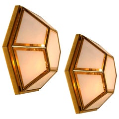 Pair of White Hexional Glass Flush Mounts/Wall Lights by Limburg, 1970s