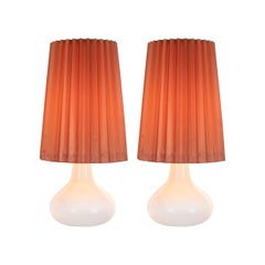 Pair of White Holmegaard Glass Table Lamps by Kylle Svanlund, Denmark, 1960s