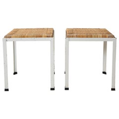 Pair of White Iron Stools with Rattan Tops by Danny Ho Fong