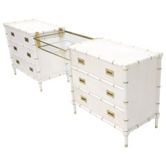 Pair of White Lacquer Brass Hardware Bachelor Chest with Suspended Brass Vanity