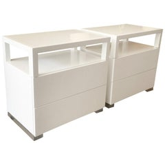Pair of White Lacquer, Lucite and Glass Nightstands by Cain Modern