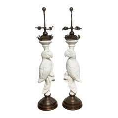 Pair of White Lacquered and Brass Parrot Lamps, Style of Serge Roche