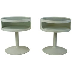 Pair of White Lacquered German 1960s Tulip Side Tables by Opal