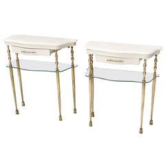 Pair of White Lacquered Nightstands with Marble Tops and Glass Shelves, Italy