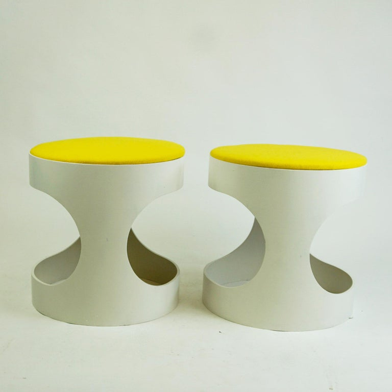 Space Age Pair of White Lacquered Plywood Stools by Opal Germany, 1960s For Sale