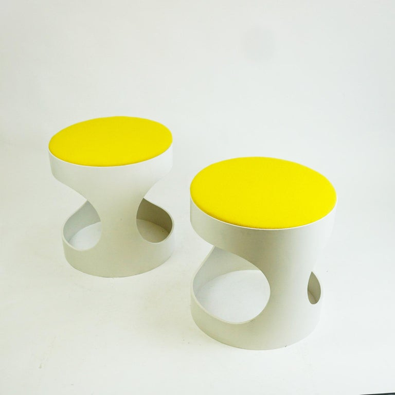 Fabric Pair of White Lacquered Plywood Stools by Opal Germany, 1960s For Sale