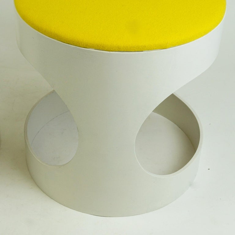 Pair of White Lacquered Plywood Stools by Opal Germany, 1960s For Sale 2