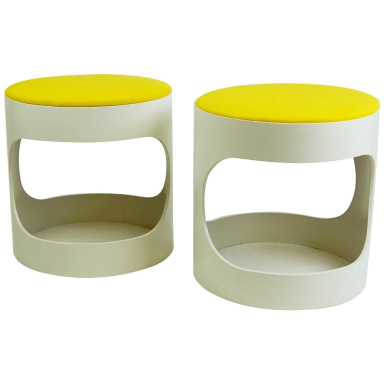 Pair of White Lacquered Plywood Stools by Opal Germany, 1960s For Sale