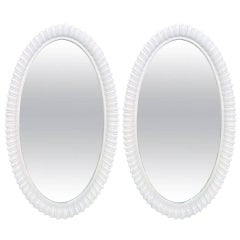 Pair of White Lacquered Shell Mirrors