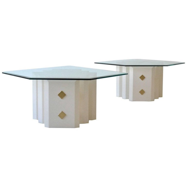 Pair of White Lacquered Side Tables
