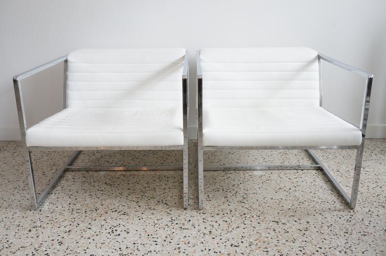 Modern Pair of White Leather
