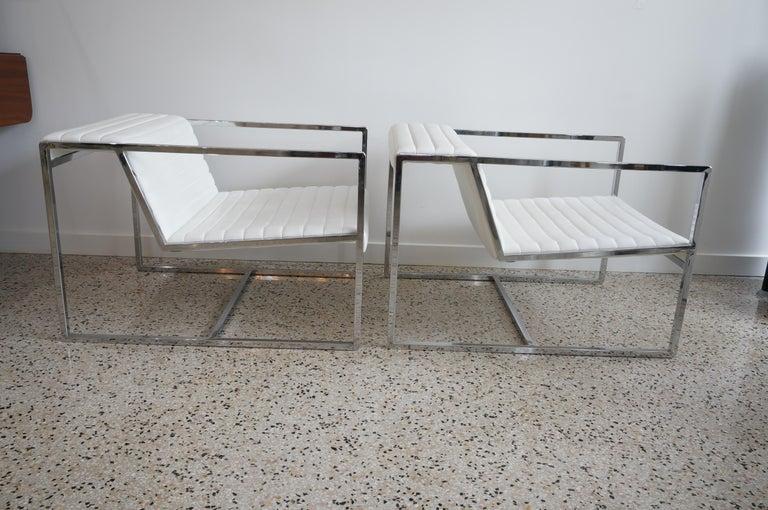 Italian Pair of White Leather