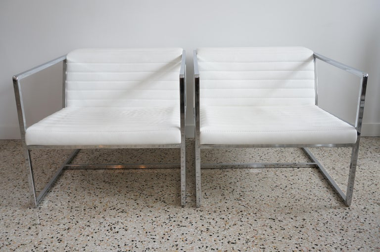 Contemporary Pair of White Leather