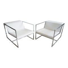 "Pair of White Leather ""Atlanta"" Lounge Chairs by Bavuso Giuseppe"