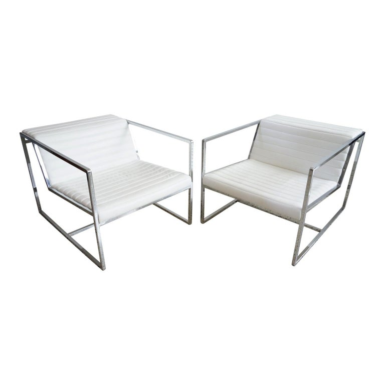 """Pair of White Leather """"Atlanta"""" Lounge Chairs by Bavuso Giuseppe For Sale"""