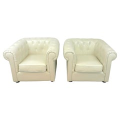 Pair of White Leather Chesterfield Club Chairs
