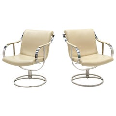 Pair White Leather & Stainless Steel Swivel Chairs by Gardner Leaver