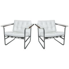 Pair of White Leather Stendig Chrome Tubular Steel Chairs