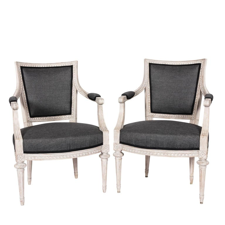 Pair of White Louis XVI Style Fauteuil Armchairs