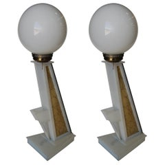 Pair of White Lucite Table Lamps with Light Up Fiberglass Side by Moss