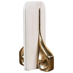 Pair of White Maple and Cast Bronze Bookends by Vincent Pocsik, In Stock