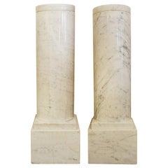 Pair of White Marble Column Pedestals