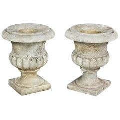 Pair of White Marble Garden Urns