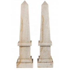 Pair of White Marble Obelisks