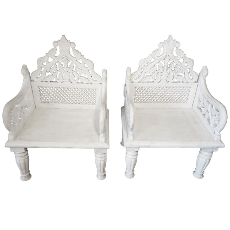 Pair of White Marble Palace Chairs, 1890, offered by Pittet Architecturals