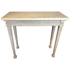 Pair of White Marble-Top Neoclassical Console Tables