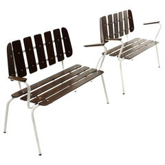 Pair of White Metal Benches with Wooden Slats, 1950s