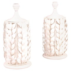 Pair of White Metal Painted Table Lamp