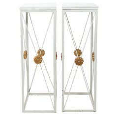 Pair of White Metal Stands with Marble Tops