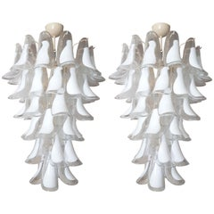 Pair of White Mid-Century Modern Murano Glass Chandeliers by Mazzega, 1970s