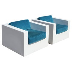 Pair of White Modern Cube Fiberglass Armchairs with Teal Velvet Seats