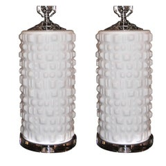 Pair of White Molded Glass Table Lamps